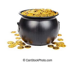 Pot of gold coins - Large black pot filled with gold coins