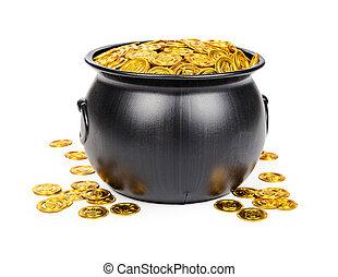 pote, de, Ouro, moedas,