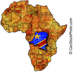 congo old map - some very old grunge map with flag of congo
