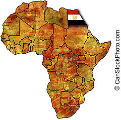 egypt old map - some very old grunge map with flag of egypt