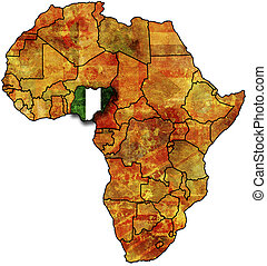 nigeria old map - some very old grunge map with flag of...