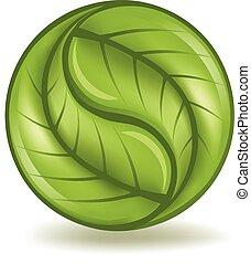 Green Yin Yang - Leaf yin yang symbol.
