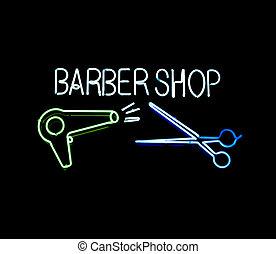 neón, peluquero, Tienda, señal