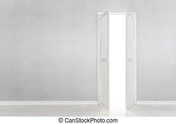 Open White Door on grey Wall