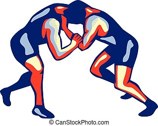 Freestyle Wrestling Retro - Illustration of wrestlers...