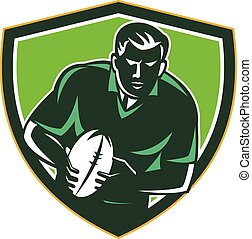 Rugby Player Running Passing Ball Crest Retro
