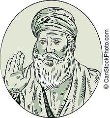 Sikh Guru Priest Waving Etching - Etching engraving handmade...