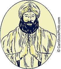 Sikh Priest Praying Front Oval Etching