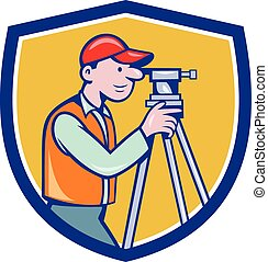 Surveyor Geodetic Engineer Theodolite Shield Cartoon -...