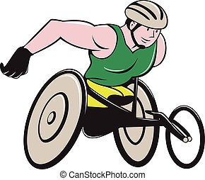 Wheelchair Racer Racing Isolated - Illustration of a...