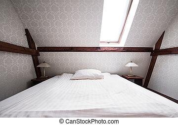 clair, chambre à coucher, dans, beige, couleur,