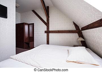 Beige and brown bedroom design