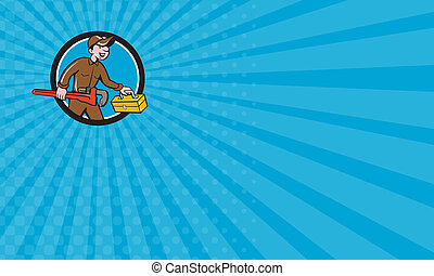 Business card Plumber Carrying Monkey Wrench Toolbox Circle...
