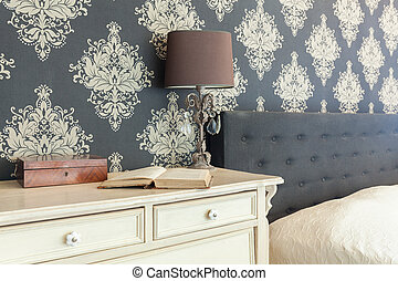Patterned wallpaper in retro interior - Close-up of...