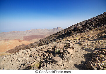Volcanic landscape in Teide park, Tenerife, Canary Island, Spain.