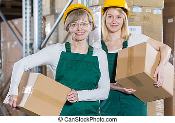 Contented female workers
