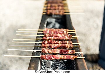 Arrosticini, grilled specialties in the Gran Sasso National...