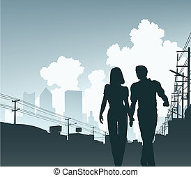 City couple - Editable vector illustration of a couple...