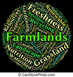 Farmlands Word Represents Text Cultivates And Farmstead -...