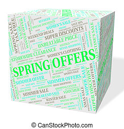 Spring Offers Indicates Discount Season And Promotional -...