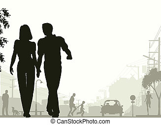 Street stroll - Editable vector silhouette of a couple...