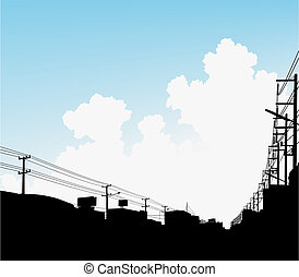 Urban clouds - Editable vector illustration of clouds over a...