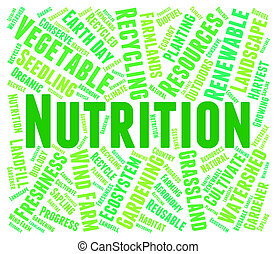 Nutrition Word Shows Food Words And Nutriments - Nutrition...