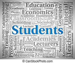 Students Word Represents Studying Postgraduate And Scholar -...