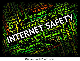 Internet Safety Represents World Wide Web And Beware -...