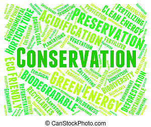 Conservation Word Indicates Earth Friendly And Conserving -...