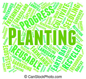 Planting Word Indicates Cultivation Grow And Growth -...