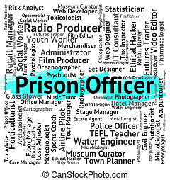Prison Officer Indicates Correctional Facility And Career -...