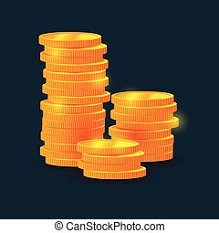 vector columns of coins, money, on black background