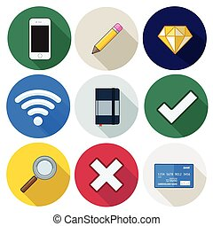 Set of icons, pencil, wifi, diamond, vector