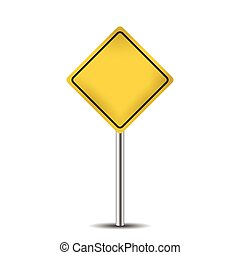 yellow blank road sign isolated on white