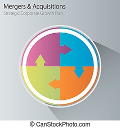 Merge Acquisition Business Chart Icon - An image of a merger...