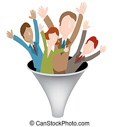 Business Merger Funnel Icon - An image of a corporate merger...