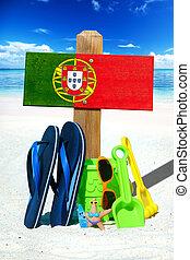 madeira, signboard, com, PORTUGAL, bandeira,