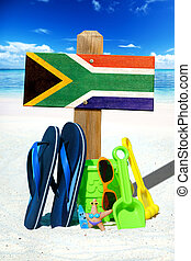 Wooden signboard with south africa flag - Wooden sigboard...