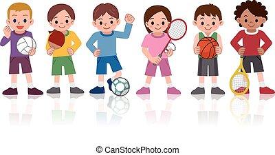 deportes, niños, variedad