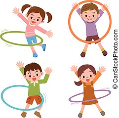 Children to the hula hoop - Vector illustration