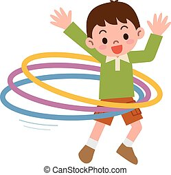 Boy that the hula hoop - Vector illustration