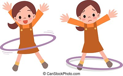 Girl to the hula hoop - Vector illustration
