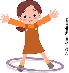 Girls can not hula hoop - Vector illustration.