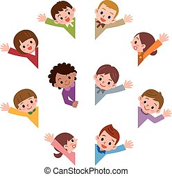 Children smile waving - Vector illustration.