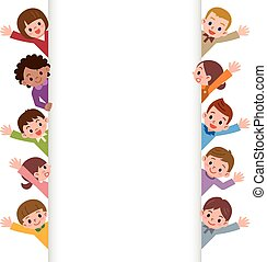 Children smile waving - Vector illustration