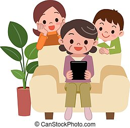 Senior woman to operate the tablet - Vector illustration