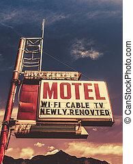 vindima,  motel,  retro, sinal