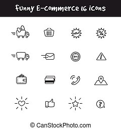 Vector outline black and white 16 e-commerce icons set....