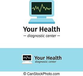 Vector flat medical center logo. Diagnostic logotype. Computer with cardiogram on screen symbol.